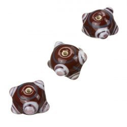 Sputnik Brown And White Round Glass Beads 16mm PK3