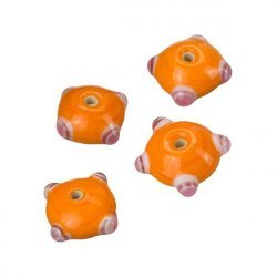 Sputnik Lampwork Orange/Pink Disc Glass Beads 21mm PK4