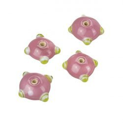 Sputnik Lampwork Pink/Yellow Disc Glass Beads 21mm PK4