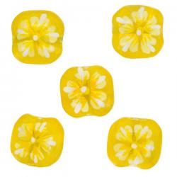 Yellow Flower Design Square Glass Beads 16x10mm PK5