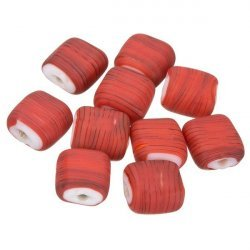 Black Striped Matte Red Flat Square Glass Beads 10x5mm