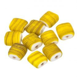 Black Striped Matte Yellow Flat Square Glass Beads 10mm