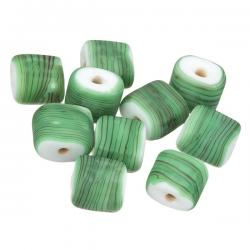 Black Striped Matte Green Flat Square Glass Beads 10mm