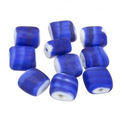 Black Striped Matte Blue Flat Square Glass Beads 10x5mm