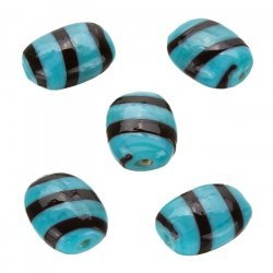 Striped Turquoise Flat Barrel Glass Beads 18x14mm (PK5)