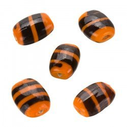 Striped Orange Flat Barrel Glass Beads 18x14x7mm (PK5)