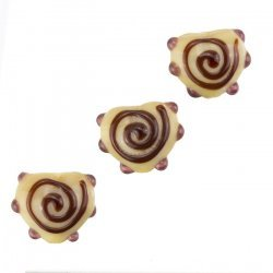 Brown Heart Lampwork Swirl and Dot Glass Beads 13x15mm
