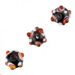 Orange Dotted Black Lampwork Round Glass Beads 12mm PK3