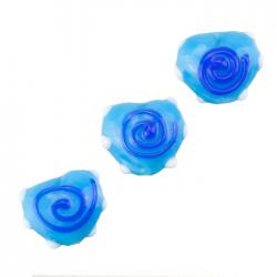 Blue Heart Lampwork Swirl and Dot Glass Bead 13x15mm PK3