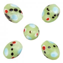 Spotty Green Shiny Oval Glass Beads 17x12mm (PK5)