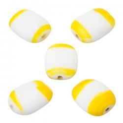 White and Yellow Banded Flat Barrel Beads 18x14x6mm PK5
