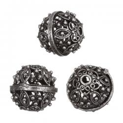 Flower Pattern Filigree Beads Antique Silver 15mm PK3
