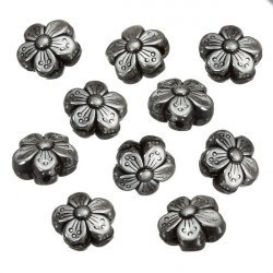 Antique Silver Double Sided Flower Spacer Beads (14mm)