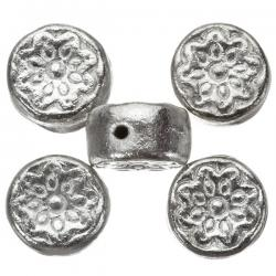 Antique Silver Embossed Flower Round Disc Beads 16mm PK5
