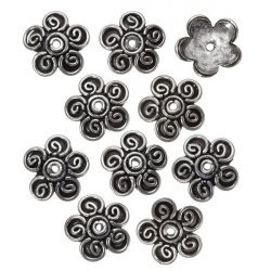 Antique Silver Dome Flower Bead End Caps - 14mm (PK10)