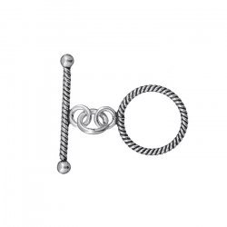 Antique Silver Twisted Thin Rope Toggle Clasp 25mm PK1
