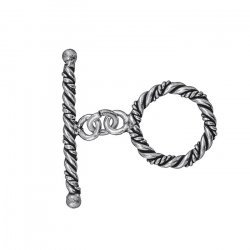 Twisted Rope Metallic Silver Antique Toggle Clasp 30mm