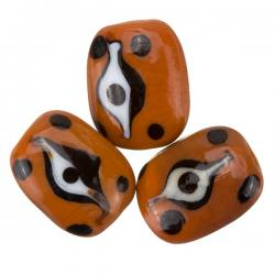 All Seeing Eye Brown Rectangle Glass Beads 18x12x8mm PK3