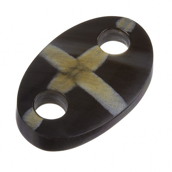 Black Horn Oval Pendant - Cream Cross Design 50mm PK1
