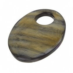 Brown Natural Oval Horn Pendant With Large Hole (54mm)