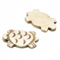 Carved Turtle Natural Bone Bead Pendants (31x18mm) PK2