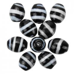 Spiral Pattern Black Oval Glass Beads 18x14mm (PK10)