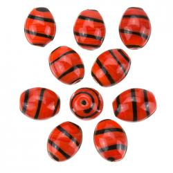 Spiral Pattern Red Oval Glass Beads 18x14mm (PK10)