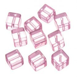 Small Transparent Pink Cube Glass Beads 8x8mm PK10