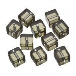Small Transparent Grey Cube Glass Beads 8x8mm (PK10)