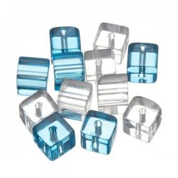 Small Transparent Turquoise Mix Cube Beads 8x8mm - PK12