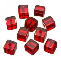 Small Transparent Red Cube Glass Beads 8x8mm PK10