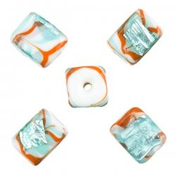 Silver Foil Turquoise & Orange Cube Glass Bead 10mm PK5