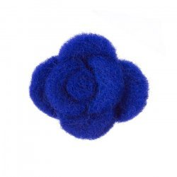 Felt Fabric Flower Dark Blue Brooch Hair Accessory 45mm