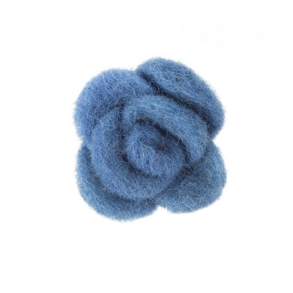 Blue Brooch Hair Accessory Fabric Felt Rose Flower 45mm