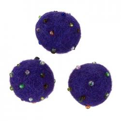Felt Round Wool Violet Ball Beads With Rocailles (14mm)