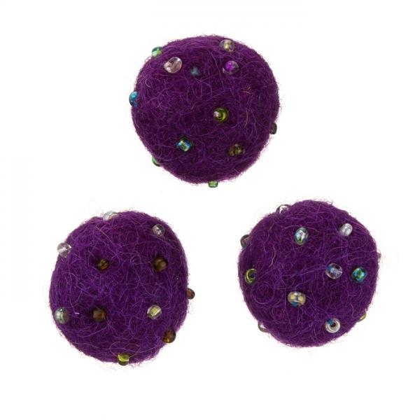Round Dark Purple Wool Felt Ball Beads With Rocailles 14mm