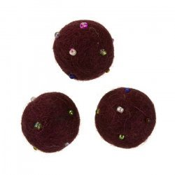Round Felt Wool Ball Beads Burgundy With Rocailles 14mm
