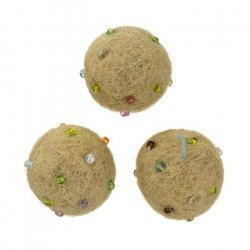 Light Brown Felt Round Ball Beads With Rocailles (14mm)