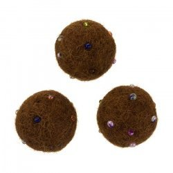 Felt Round Brown Wool Ball Beads With Rocaille 14mm PK3