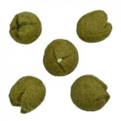 Olive Fabric Felt Tulip Beads With Seed Centre 21mm PK5