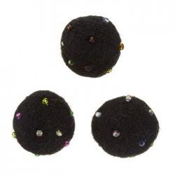 Felt Black Round Wool Ball Beads With Rocaille 14mm PK3