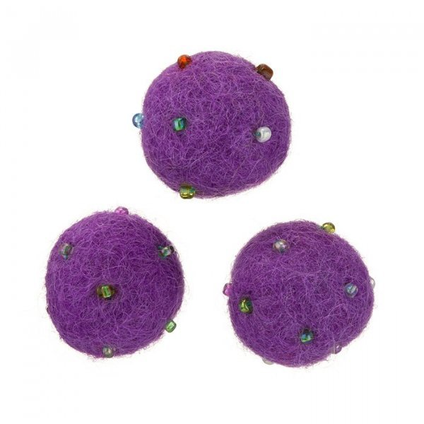 Purple Felt Round Wool Ball Beads With Rocaille 14mm PK3