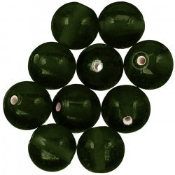 Handmade Trans. Dark Green Round Glass Beads 14mm PK10