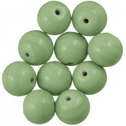 Shiny Handmade Opaque Green Round Glass Beads 14mm PK10