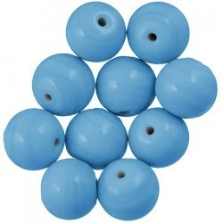 Shiny Opaque Light Blue Round Glass Beads 14mm (PK10)