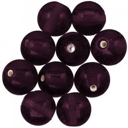 Trans. Handmade Dark Purple Round Glass Beads 14mm PK10