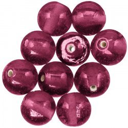 Transparent Handmade Dark Red Round Glass Beads (14mm)