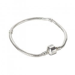 Silver Snake Chain Bracelet With Snap Clasp 18cm PK1