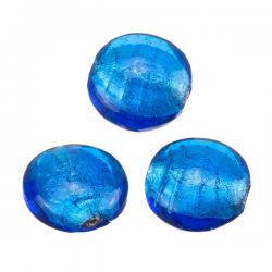 Silver Lined Handmade Blue Disc Glass Beads 20mm PK3