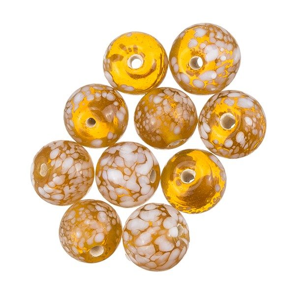 Brown Trans. Speckled Splatter Round Glass Beads - 10mm